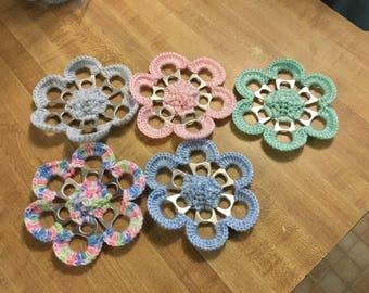 Crochet large tab flowers - variety