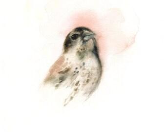 Strawberry- Pink bird archival print