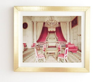 Pink Palace Room Ready-to-Hang Framed Wall Art, Chateau Versailles French Rococo Paris, Gold White Framed Print, Nursery Girls Bedroom Decor