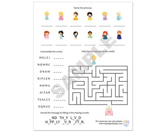 50% Off Sale! - PRINTABLE Princess Party Activity Page - INSTANT DOWNLOAD