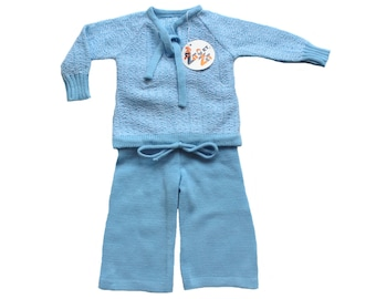 FRENCH VINTAGE 70's / baby ensemble / jumper and pants /light blue and white / new old stock / size 6 months