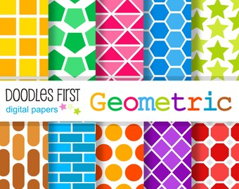 Geometric Digital Paper Pack Includes 10 for Scrapbooking Paper Crafts