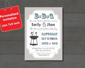 Baby-Q Baby Shower BBQ invitation couples - boy