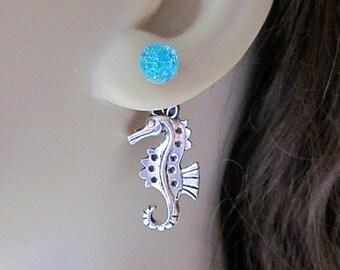 Double Sided Earrings Front Back Earrings Ear Jacket Earrings Silver Sea Blue Druzy Studs Seahorse Earrings Aquatic Creature Ocean Animal