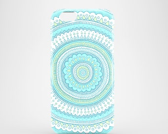 Carousel mobile phone case / iPhone X, iPhone 8, iPhone 7, 7 Plus, iPhone SE, iPhone 6S, iPhone 6, iPhone 5/5S, illustrated pastel blue case