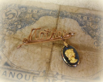 vintage mother name pin with blue glass cameo dangle script mother gold filled wire name pin