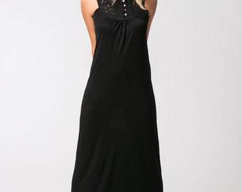 Sleeveless Black Dress, Black Maxi Dress, Long Black Dress, Summer Dress, Boho Clothing, Bohemian Dress