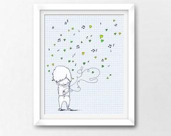 Love Song Art Printable, iPhone iTunes, Instant Download Illustration by Sleepy Cloud Studios