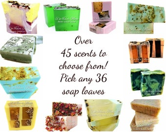 SOAP | 36 assorted 3.5 lb Soap Loaves, Wholesale Soap, Vegan Soap, Soap Gifts, Wedding favors, Shower Favors, FREE SHIPPING
