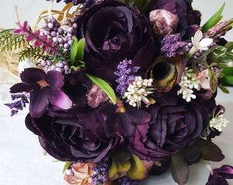 Elegance purple wedding bridal bouquet