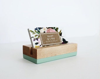 Painted Wood Business Card Holder - Business Cards - Wooden Recipe Card Holder - Office Organization - Desk Accessory - Photo Display