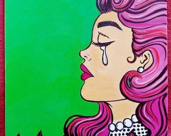 Pink Hair Pop Art Girl