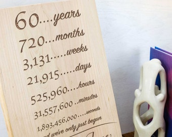 Personalized Anniversary Plaque Laser Engraved in Wood, Years Months Weeks Days Hours Minutes Seconds