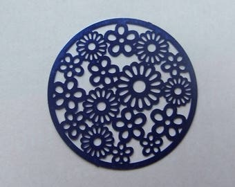 Royal Blue 31mm filigree flower disc