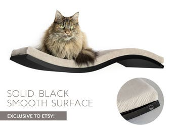 Floating cat shelf, BLACK wall-mounted cat shelf, SOFT BROWN cushion, pet bed, pet furniture, floating cat shelves, wall stud