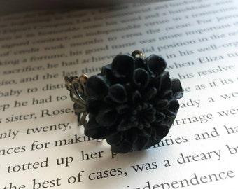 Midnight Vintage Inspired Chrysanthemum Ring