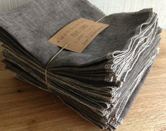 Family Starter Set - Ten Napkins in a Set - Reusable GRAY Linen Napkins - Made to Order