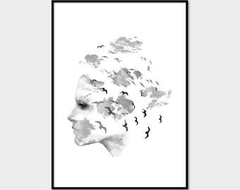 Black and White Art, Woman Print, Face Print, Woman with birds, Abstract Art, Handmade #047