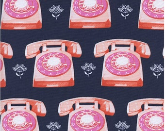 Telephones in Navy, Trinket Collection,  Melody Miller, Cotton and Steel,  1/2 yard