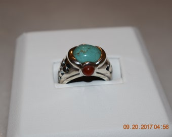 Vintage Turquoise, Coral  and Sterling Silver Ring, size 13.25