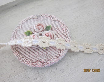 1yard-Cream Cotton flowering Trim/NT75-Fancy Trim/Tiny Trim/