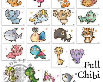 Full Chibi Cards Set 20 pieces - Postcard with Illustration, kawaii cute animal postcards set 20 cards