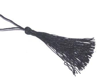 Long tassel 10cm length black satin