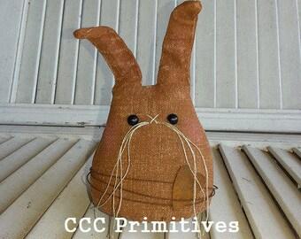Osnaburg Bunny - Aged Bunny - Handmade Bunny - Country Bunny - Primitive Bunny - Spring Bunny -  Shelf Bunny - Cute Bunny