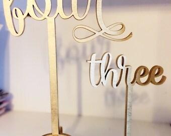 Gold elegant wedding cursive table number - custom laser cut birch wood - 9 inches tall