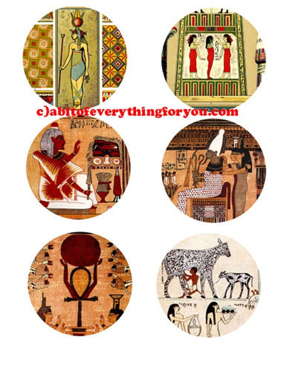 ancient egyptian king pharaoh queen collage sheet 3 inch circles printables clipart digital download graphics images craft tags coaster