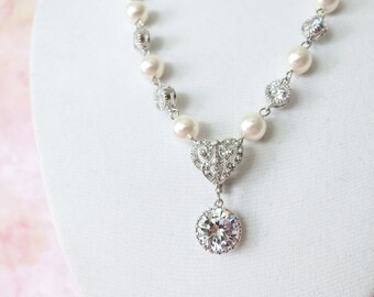 Forever Love Victorian Style Swarovski Pearl Bridal Necklace, Vintage Style Old Hollywood Pearl Bridal Wedding Necklace, Heart pendant