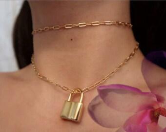HARLEY LOCK, Locket necklace, gold necklace, locket choker, chain choker, layered necklace, choker set