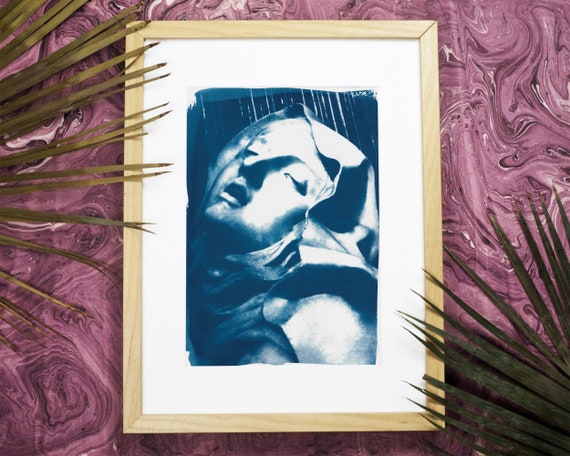 Bernini Sculpture Cyanotype, Ecstasy of St. Teresa Fine Art Print, Virgin Mary Gift, Catholic Art, Religious Artwork, Wall Art, A4 size