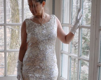 Shimmering White Sequin Knit Dress/Vintage 1960s 1970s/Iridescent Sequined Beaded Party Dress/Size S M