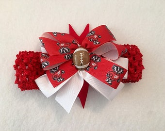 Wisconsin Badgers Baby Girl Boutique Bow Crocheted Headband