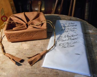 1920s Art Deco Handkerchief Suede Bag & New Old Stock Handkerchiefs