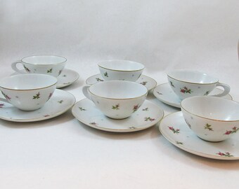 "Set of Six Sango Chintz Cups, Saucers and 6"" Desert Plates - Bread & Buttter Plates - 18 Piece Set"