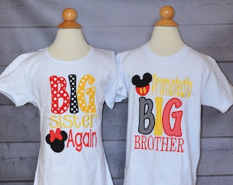Personalized EARS BIG Brother Again Big Little Middle Bro Big Little Middle Sis Applique Shirt or Bodysuit Girl or Boy