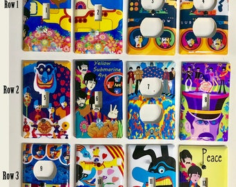The Beatles Yellow Submarine Themed Inspired Switch and Outlet Plates