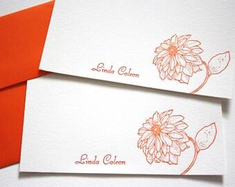 Personalized Letterpress Stationery Dahlias Fancy Script Tangerine Orange
