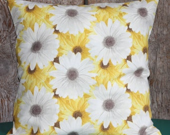 16x16 Daisy Pillow Cover, Yellow Pillow Cover, Floral Pillow Cover, Black-Eyed Susan Pillow Cover