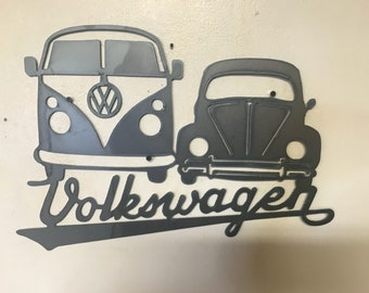 Volkswagen bus and car