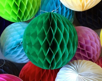 Green 10 Inch Honeycomb Tissue Paper Balls - Paper Party Decor Decoration Supplies