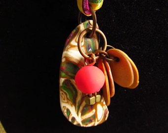 Abstract Assorted Polymer Clay Hand Made Pendant Necklace