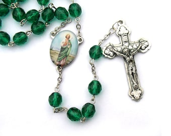 Saint Jude Catholic Rosary Beads Patron Saint of Chicago Police Dept