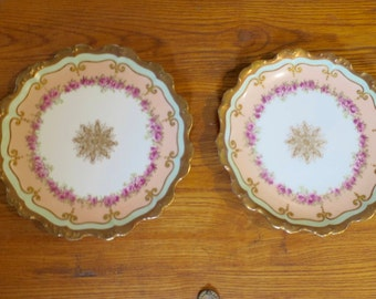 2 Limoges Dessert Plates Pink Green Rose Gold Antique Limoges France China for Sol. Marks Jewelry Store Heavy Gilt Edge, Roses Center Decal