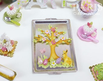 MTO-Easter Cookie Tree on Baking Sheet - Miniature Food in 12th Scale for Dollhouse