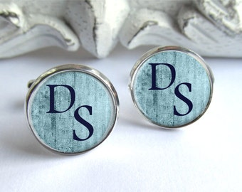 Blue Cufflinks, Custom Cufflinks, Personalized Monogram Cufflinks, Gift For Him