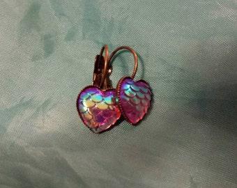Mermaid earrings fish scales in heart