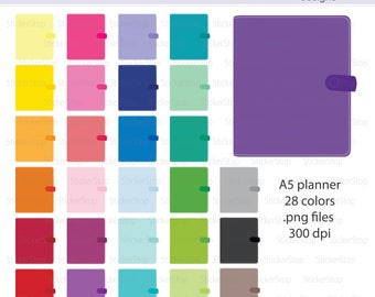 a5 Planner or Filofax Icon Digital Clipart in Rainbow Colors - Instant download PNG files